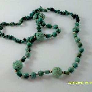 Carved Chinese Hubei Turquoise Shou Bead Necklace